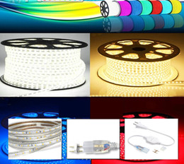 Wholesale Epistar Strip - 220V LED Strips 100M Epistar SMD3528 SMD2835 flexible strip with Power plug IP67 Sigle Color Warm Red By DHL