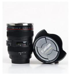 Lente de cámara térmica online-Taza de lentes CPAM de 400 ML Tazas de café de acero inoxidable Liner de 4 generaciones Viajes Cámara de lente de café térmico Taza de taza Negro