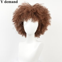 Wholesale Curl Wig New - Top Quality New Arriving Short Light Brown Kinky Curly Full Wig Simulation Human Hair Fashion Shorts Curl Full Head