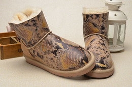 Wholesale Python Heels - Women Ankle snowboots super A leather snowboots printed python grain ankle boots factory prices Us 5-9 warm comfortable