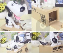 Wholesale Box Puppy - Zorn toys -Piggy Bank Choken Puppy Hungry Eating Dog Electric Coin Bank Money Saving Box Eating money pot Stealing money tank wholesale