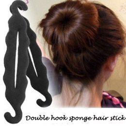 Wholesale Cheap Pvc Figures - 2016 Fashion Beauty Salon For Women Double Hook Sponge Hair Stick Necessary Figure Head Meatball Head Tool Cheap And Convenience Hair Stick