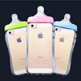 Wholesale Wholesale Baby Bottle Covers - Cute 3D Baby Nipple Milk Bottle TPU Gel Back Case Cover Skin Silicone Cover With Hang rope for