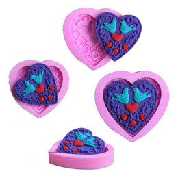 Wholesale Bird Molds - WHOLESALE silicone 3D cake moulds heart love bird flower fondant molds chocolate candy sugar craft moule bakeware baking tools