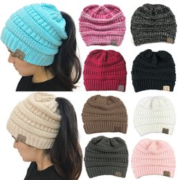 Wholesale Hole Warmer - Sports Style 10 Colors Women CC Ponytail Caps Winter Warm Hat Back Hole Pony Tail Knitted Beanie for Sports