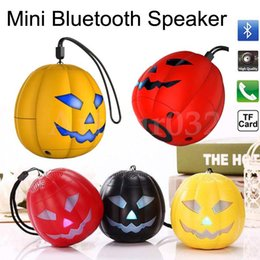 Wholesale Mini Portable Travel Speaker - Halloween Gift Pumpkin Mini Bluetooth Speakers LED Flash Light Multi-color Speaker TF Card Ultra Clear Sound Outdoor Cycling Hiking Travel