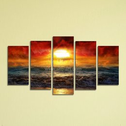 Wholesale Water Painting Photos - Cheap 5 Panel Wall Art Painting Ocean Beach Decor Canvas Prints Picture Fire Kissed Water Digital Photo Print on Canvas for Home