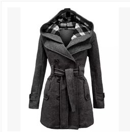 Wholesale Double Breasted Woman Winter Coat - S-3XL 2016 Ladies Long Winter Hooded Jackets Coat For Women Coats woman coat wool thick wool winter coats