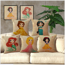 Wholesale Embroidered Linen Cushion Cover - 45*45cm Cute Cartoon Princess Pillow Case Pillow Cover Linen Cotton Blend Mermaid Princess Cushion Cover Throw Pillow Cushion Covers