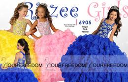 Vestidos modestos feitos sob encomenda da menina on-line-2019 New Crystal Girl's Pageant Vestidos Com Halter Beads Ruffles vestido de Baile Organza Personalizado Modest Azul Amarelo Rosa Flor Menina Vestidos de Criança