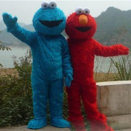 Wholesale Animal Elmo - 2018 TWO PCS!! Sesame Street Red Elmo Blue Cookie Monster Mascot Costume, Animal carnival +Free shipping