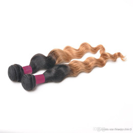 Wholesale Blonde Remi Hair - Hot 1B 27 Blonde Two Tone Ombre Malaysian Loose Wave Hair Weaving 2 Pieces lot remi Braiding Hair Weft Malaysian Wavy Bundles 3,4,5pcs lot