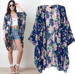 fiore m Sconti Moda europea estate nuova moda donna stile kimono fiori di pesco stampa fiore sciolto palazzo chiffon cardigan mantello lungo cappotto