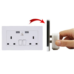 Wholesale Gang Plate - 2 Gang Wall Socket Dual USB Port Outlets Plate Panel Power Supply UK Plug New B00456