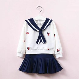Wholesale Sets Girls Sailor - 2017 Autumn New Girls Clothing Sets Sailor Collar Cherry tops+Skirt Girl Fashion Outfits Children Clothing E317710