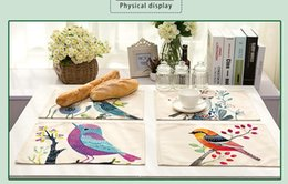 Wholesale Table For Painting - Hand Painted Bird Printed Placemat Table Mat For Christmas Decoration Heat-insulation Linen Kitchen Dining Pads 42x32cm