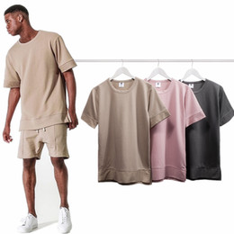Wholesale Fashion Season T Shirts - Men's brand Fashion T shirt Kanye West Fear of god half T-shirt season 3 Tactical short-sleeved 3 color Terry tee