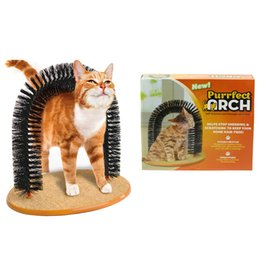 Wholesale Cats Massager - Purrfect Arch Pet Cat Self-Groomer and Massager With Round Fleece Base Cat Toy Brush Pets Toys Purrfect Scratching Devices