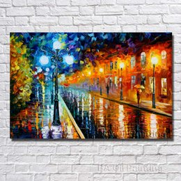 Wholesale Large Framed Oil Painting Canvas - Wall Decor Paris Street Painting Hand painted Decoration Oil Painting Large Modern Canvas Art No Framed