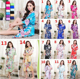 Wholesale Sexy Sleepwear Gowns - 14 colors womens Solid royan silk Robe Ladies Satin Pajama Lingerie Sleepwear Kimono Bath Gown pjs Nightgown A054