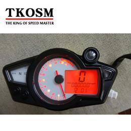 Wholesale Bike Rpm - TKOSM New Motorcycle Speedometer Odometer Meter Adjustable Wheel Size Adjustable LCD Digital Bike Tachomete 10000 RPM