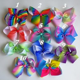 Least JOJO 8'' grosgrain ribbon hair bows With alligator hair clips boutique rainbows bow girls hairbow For Teens Gift 11pcs lot Deals
