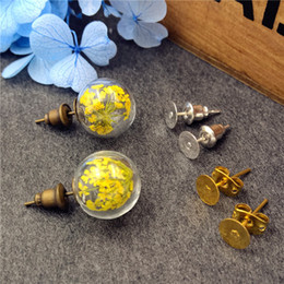 Wholesale Earring Base 12mm - 10sets lot 12mm empty glass globe ball bottle 3.5mm mouth & earring base set glass earring charms glass dome cover DIY findings supply
