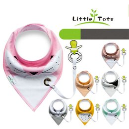 Wholesale Newborn Products - 100% Original Little Tots Toddler Baby Bibs with Pacifier Clip Pure Cotton Double Layer Saliva Towel Triangle Scarf Newborn Products