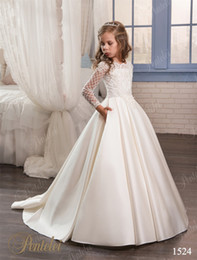 Wholesale Cheap Birthday Shirts - Wedding Dresses for Little Girls 2017 Pentelei Cheap with Long Sleeves and Pockets Appliques Satin ivory flower girl dresses