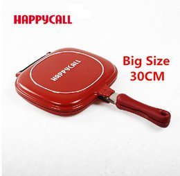 Wholesale Happy Call Pans - Wholesale-Wholesale Happycall Happy Call 30cm Big Size Fry Pan Non-stick Fryer Pan Double Side Grill Fry Pan