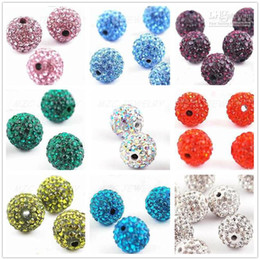 Wholesale Shamballa Pieces - Cheap! shamballa 450pcs lot 9 Mixed Color Each Color 50 Piece 10mm Micro Pave CZ Disco Ball Crystal Bead .Fit Bracelet Necklace. DIY