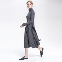Wholesale Ankle Length Wool Dresses - Europe and the United States women 2017 autumn and winter new waist belt high-necked long-sleeved pendulum wool dress dress