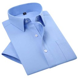 Wholesale Mens Poplin Shirts - Wholesale-Summer 2016 Mens Short Sleeve Solid Poplin Dress Shirt Spread Collar Regular-fit Cotton Blend Unelastic Business Formal Shirt