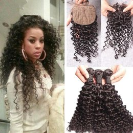 Wholesale Indian Curly Silk Base Closure - 8A Indian Curly Hair With Silk Base Closure,Silk Closure And Bundles 4Pcs Lot,Deep Curly Hair With Silk Top Closure Stock