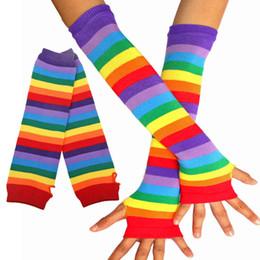 guantes de encaje blanco dedos largos Rebajas PrettyBaby Tejer rayas elásticas del arco iris calentadores del brazo de la mano sin dedos guantes largos para mujeres para hombre DHL libre envío