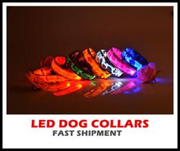 Wholesale Camouflage Dog Collars Leashes - 50pcs Fedex mix order 2.5CM wideth 3 Size Camouflage pattern LED dog collars LED pet Flashing safety collars Nylon Leashes