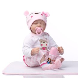 Wholesale Handmade Collectible Dolls - 22''Handmade Lifelike Baby Girl Doll Silicone Vinyl Reborn Newborn Dolls+Clothes