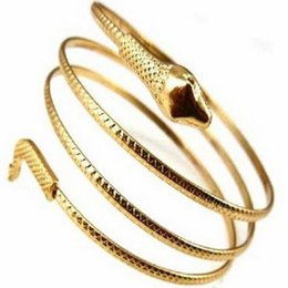 Wholesale Gold Snake Arm Cuff - Wholesale-New Fashion Unisex Punk Coiled Gold Silver Metal Snake Spiral Stretchy Wide Arm Cuff Bangle Bracelet Armlet For Men &Women BR038
