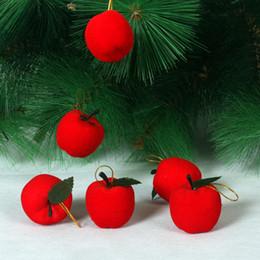 pack blanc neige Promotion Noël rouge pommes décorations d'arbre de Noël suspendus ornements décoration de fête de Noël 6pcs un sac en stock