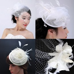 Wholesale Tulle Blusher Flower - Charming Hot Sale Free Shipping Wedding Hats Bride Veil Comb Blusher Birdcage Tulle Ivory Champagne Flowers Feather Bridal Hats