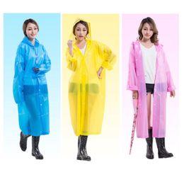 Wholesale Raincoats For Adults - 60pcs Fashion Women EVA Transparent Raincoat Poncho Portable Light Raincoat NOT Disposable Rain Coat For Adult ZA0488
