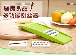 Wholesale Vegetable Julienne Shredder - Environmental Multifunctional shredder plastic vegetable cutter Grater Peeler Julienne Slicer Device Stainless Steel Blades Kitchen Tools