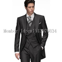 Wholesale Morning Dress Men - Wholesale- Black Groom Tuxedo Groomsmen dresses 2015 Morning style Men Wedding Suits Prom Formal Bridegroom Suit(Jacket+Pants+Vest+Tie)