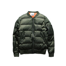 Wholesale L Style Flights - Men Bomber Jacket Thick cotton padded jacket Puffer Style Thick Army Green Military Flying Ma-1 Flight Jacket Pilot Ma1 Air Force Jacket