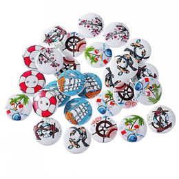 Wholesale Handmade Wooden Buttons - 201607 Sailing Pattern 2-Hole Wooden Buttons Random Mixed Fit Sewing DIY Handmade Craft Scrapbook 20mm Pack Of 50pcs I449L