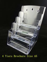 support en plastique Promotion Gros-plastique Acrylique Brochure Littérature Clair A5 4 Tiers Pamphlet Présentoir Racks Stand Pour Insérer Leaflet Livraison Gratuite