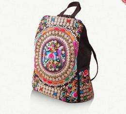 2019 vintage style leinwand rucksack Neue Mode Stickerei Rucksäcke Frauen handgefertigte Tasche Blumenreisetasche C03 rabatt vintage style leinwand rucksack