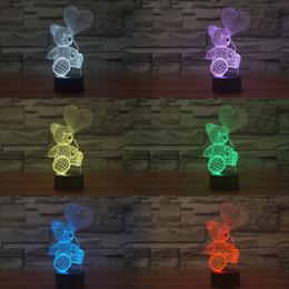 Wholesale Christmas Mixed Teddy Bear - Mixed Lot Teddy Bear New Style 3D Optical Night Light 10 LEDs Night Light DC 5V Factory Wholesale