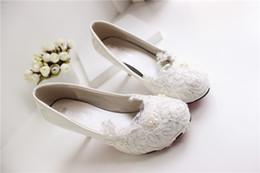 Wholesale Cheap Bridal Shoes For Women - White Lace Wedding Shoes Kitten Heel Handmade 2015 Bridal Shoes Cheap Custom Made Heel Height Women Shoes for Wedding Bridesmaid Shoes