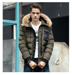 Wholesale Mens Slim Blue Fur Jacket - Mens Winter Clothing Down Jackets Hooded Snow Coats Down Pakras Outdoor Outwear Overcoat Warm Thicker Clothes Snow Tops Fur Collar HOT Sale